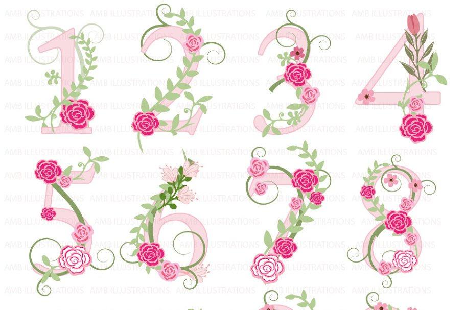 Clipart Numbers in Pink AMB-869