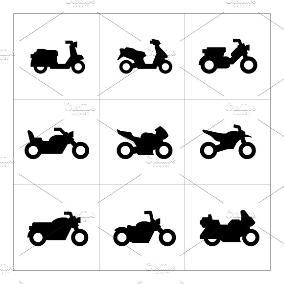 Set icons of motorcycles in Graphics