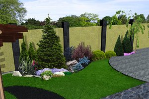 Landscape design plants grouping