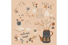 Cartoon autumn plants in different