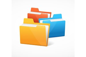 File Folder Colorful Set. Vector