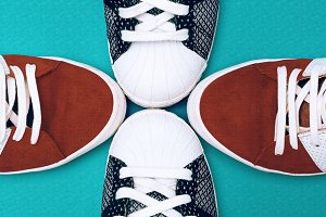 Sneakers set on blue background. Urb