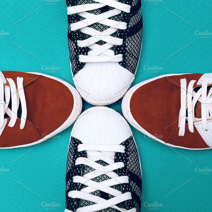 Sneakers set on blue background. Urb - Beauty & Fashion