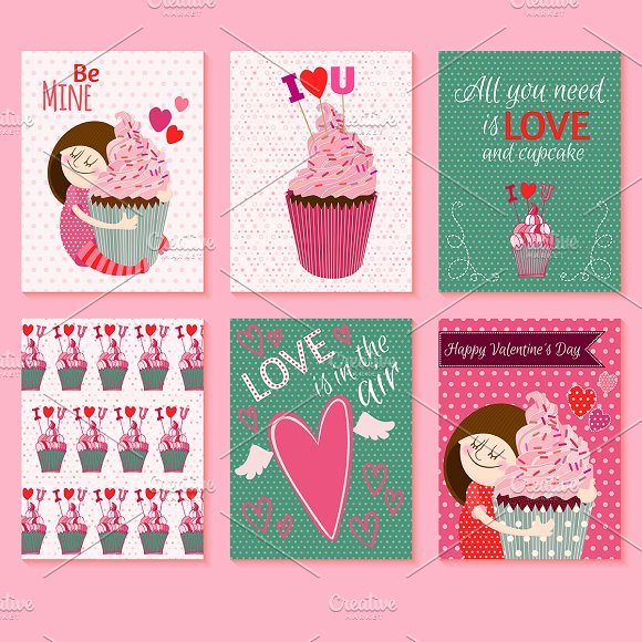6 Cute St.Valentines Day Cards - Illustrations