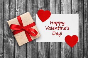 Valentines card with gift box