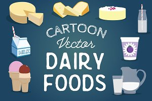 Cartoon Illustrated Dairy Foods