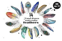 Watercolor hand drawn feathers