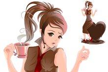 Beautiful girl and hot chocolate