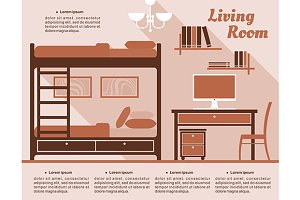 Living room interior decor infograph