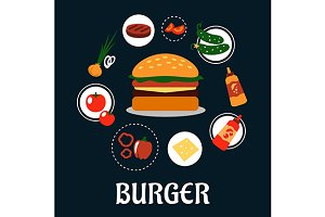 Tasty burger concept with ingredient