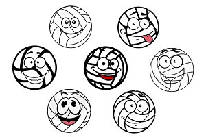 Funny cartoon white volleyball balls
