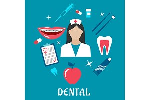 Dental flat concept with dentistry i