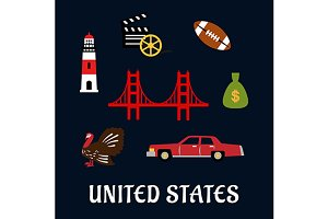 Colored flat travel United States ic