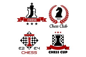 Chess cup, club and tournament symbo