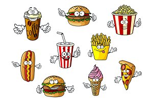 Cartoon fast food and takeaways char