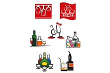 Glasses and alcohol icons or symbols