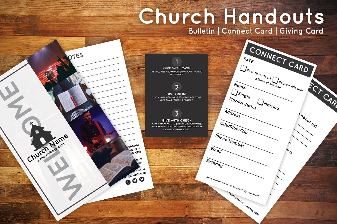 church bulletin connect card flyer flyer templates creative market
