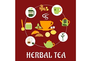 Herbal tea flat infographic design w