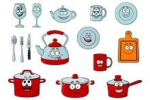 Cartoon smiling kitchenware and glas