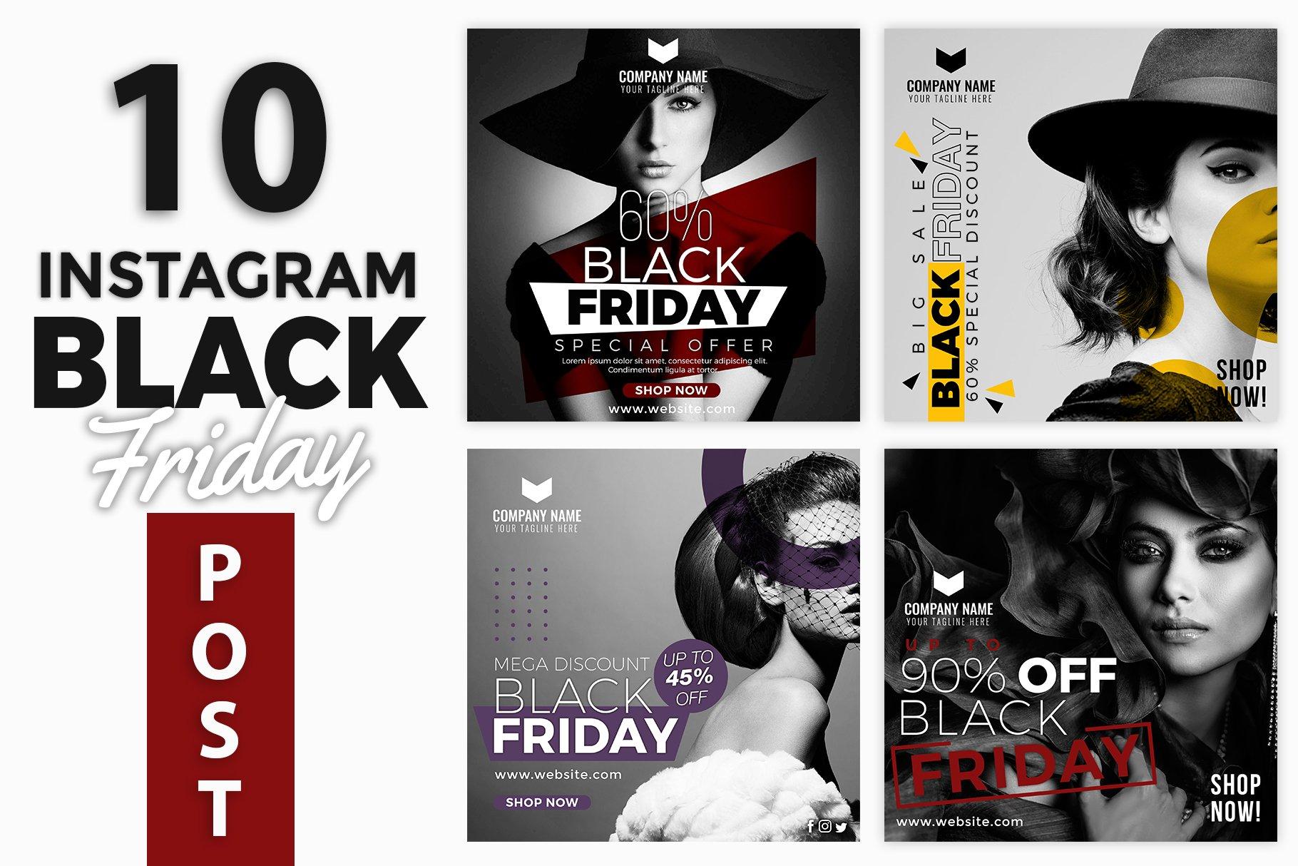 Black Friday Instagram Post Template Creative Photoshop Templates Creative Market