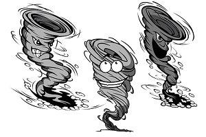 Furious cartoon tornado and hurrican