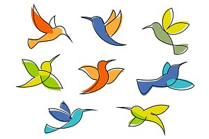 Colorful hummingbirds symbols or ico
