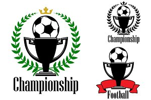 Soccer championship badges with ball