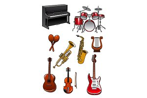 Classic musical instruments on white
