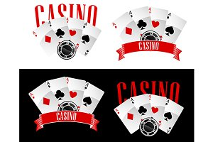 Casino icons with playing cards and