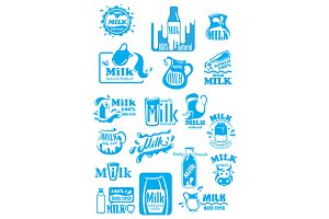 Milk blue labels and icons