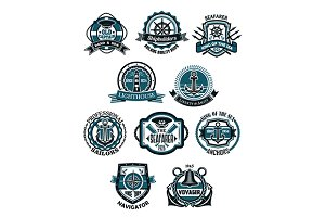 Marine and nautical heraldic emblems