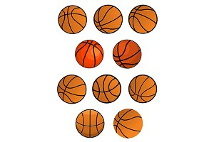 Set of orange rubber basketball ball