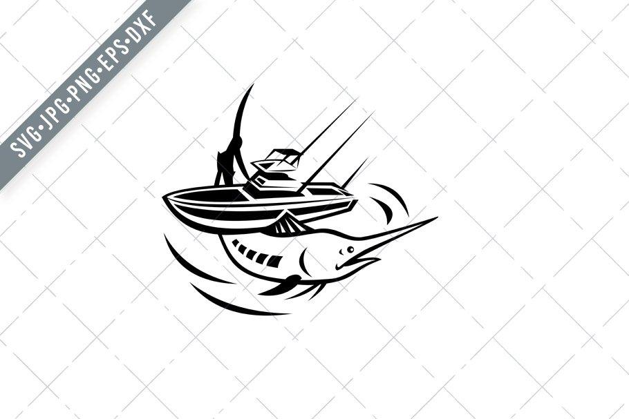 Download Blue Marlin Charter Fishing Boat Svg Pre Designed Illustrator Graphics Creative Market