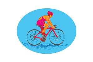 Female Cyclist Riding Bike Drawing