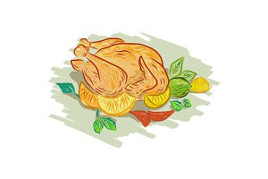 Roast Chicken Vegetables Drawing