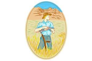 Wheat Organic Farmer Scythe Oval Dra