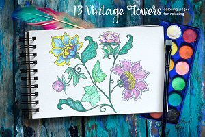 Decorative Flowers - coloring pages