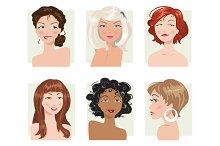 Set of female portraits
