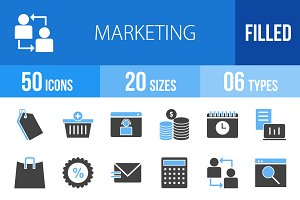 50 Marketing Blue & Black Icons