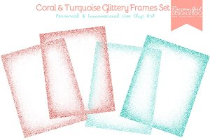 Coral & Turquoise Glittery Frames