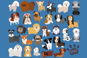 Cute Dogs 29 pc Vector & PNG Set