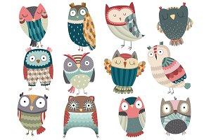 Cute Owl Set Vector & PNG Pack