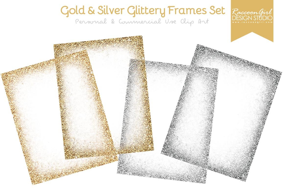 Gold & Silver Glittery Frames ~ Textures ~ Creative Market