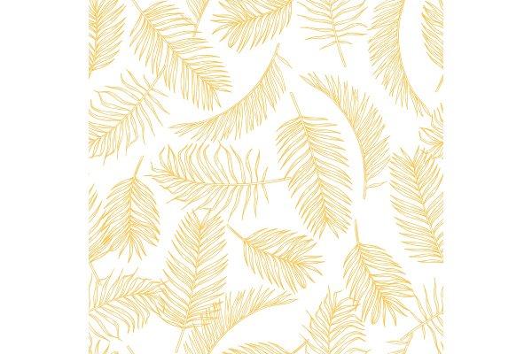 Tropical Leaves Sketch Pattern Hand Pre Designed Vector Graphics Creative Market Summer seamless pattern with tropical leaves and vector. creative market