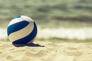 Retro looking ball on the beach