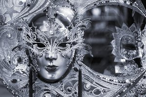 Black and white venetian mask