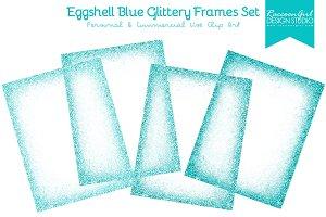 Eggshell Blue Glittery Frames Set