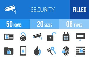 50 Security Blue & Black Icons