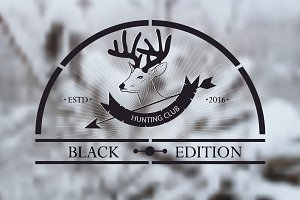 Hunt club logo on winter background