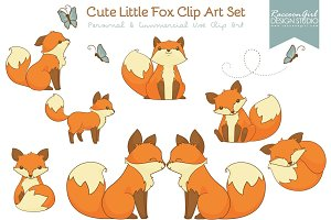 Cute Little Fox Clip Art Set